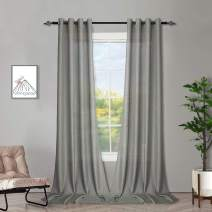 Melodieux Grey Semi Sheer Curtains 63 Inches Long for Living Room, Linen Look Bedroom Grommet Top Voile Drapes, 52 by 63 Inch (2 Panels)