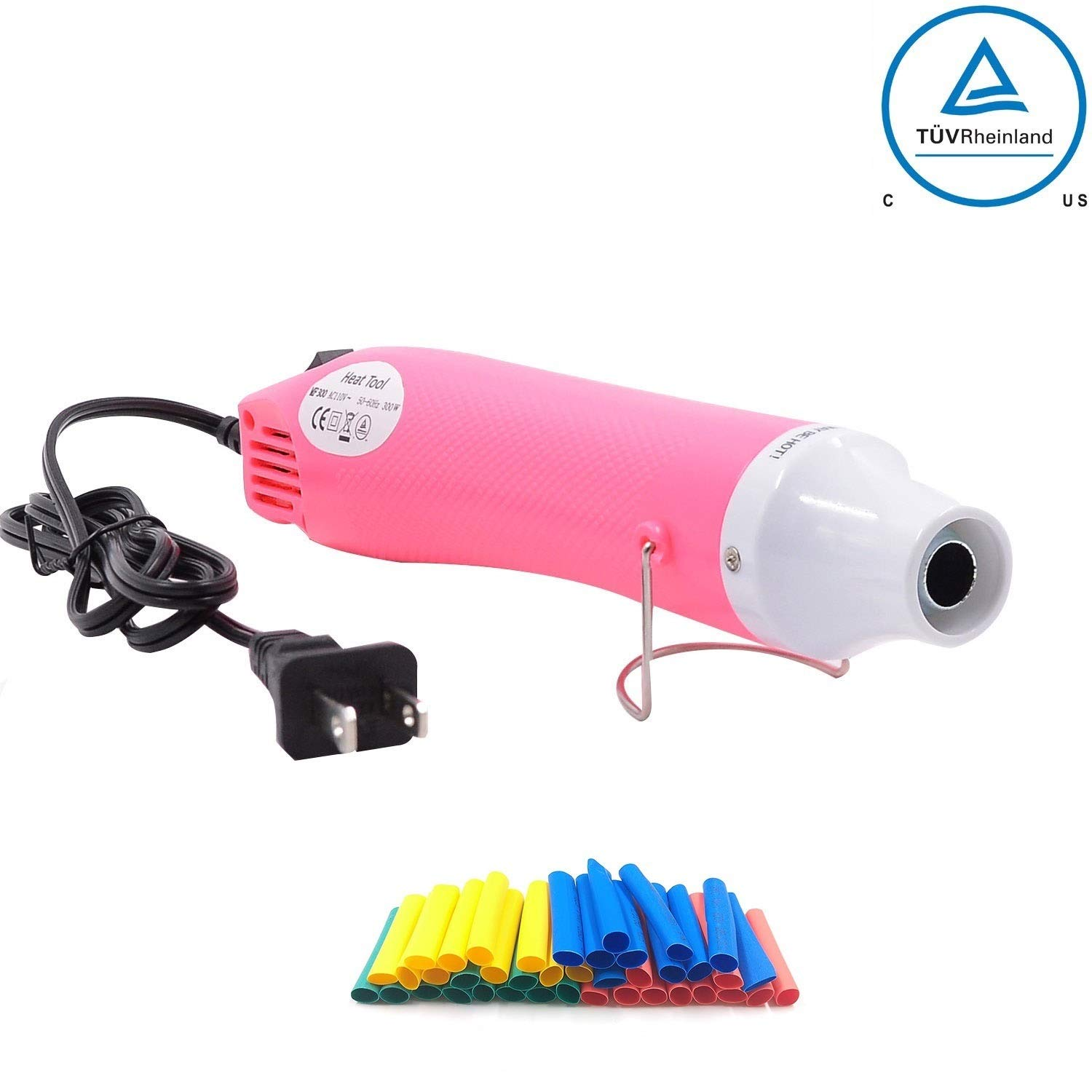 Heat Gun,mofa Hot Air Gun Tools Shrink Gun with Stand For DIY Embossing And Drying Paint Multi-Purpose Electric Heating Nozzle 300W 110V(Pink,White)