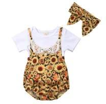 Newborn Baby Girls Sunflower Outfits White Tee Top+Floral Romper Bodysuit Jumpsuit Suspender+Headband