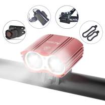 Acsin Bike Light Front and Rear, Super Bright 4 Modes Rechargeable Waterproof Durable Bicycle Front LED Light and Free Taillight with Battery Pack for Road Cycling Safety Flashlight