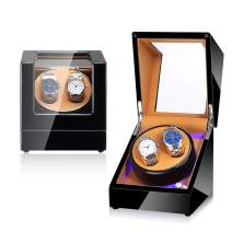 NEWTRY Automatic Watch Winder Double Watches Winder Boxes with Light Quiet Motor for Watches Display for Men and Women Gift AC Adapter and Battery Powered Not Include Watches 1 pcs (Black+Brown)