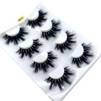HBZGTLAD NEW 4 Pairs 3D Mink Hair False Eyelashes Criss-cross Wispy Cross Fluffy length 25mm Lashes Extension Handmade Eye Makeup Tools (M04)