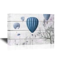 wall26 - Canvas Wall Art - Blue Hot Air Balloons on Wooden Background - Gallery Wrap Modern Home Decor | Ready to Hang - 24x36 inches