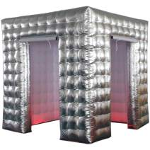 Sayok Portable Inflatable Photo Booth Enclosure with Air Blower (Silver & White, Two Doors, 8.2x8.2x8.2ft) Photo Booth Props for Event Wedding
