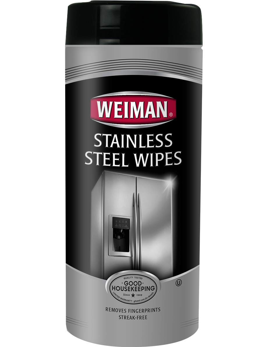 Weiman Stainless Steel Wipes - Removes Fingerprints, Residue, Water Marks and Grease From Appliances - Works Great on Refrigerators, Dishwashers, Ovens, Grills - 30 Count