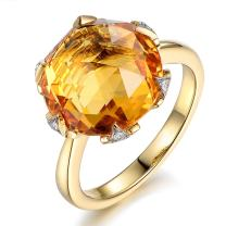 Rare 7.8ct Natural Citrine Ring with South Africa Diamonds of 5 Points Gemstone 14K Solid Yellow Gold Engagement Anniversary Rings for Women
