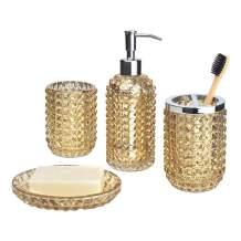 Satu Brown Bathroom Accessories Set 4 Pieces, Glass