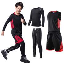 TERODACO 3/4 Pcs Boys Atheletic Compression Pants & Shirts Set Thermal Baselayer