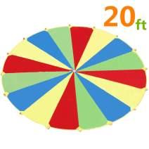 Sonyabecca 16ft 20ft 24ft Kids Play Parachute, Parachute for Kids, Parachute Game, Parachute with Handles, 6ft 8ft with 9 Handles, 10ft with 12 Handles, 20ft 24ft with 16 Handles