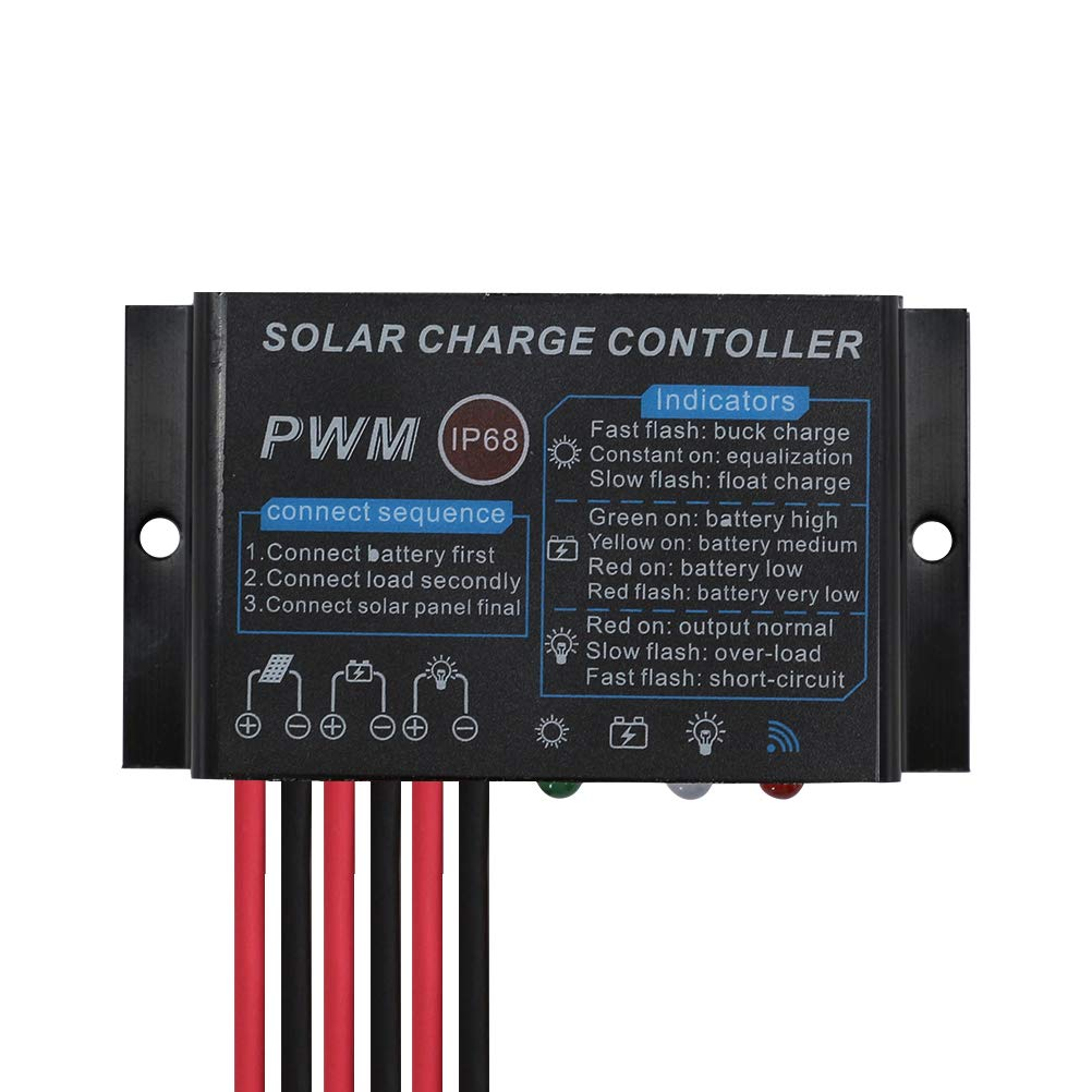 PowMr Solar Charge Controller Waterproof - 10A Charge Controller 12V 24V Auto Load on 24Hours IP68 Waterproof Solar Controller for Lead-Acid Battery (CMP-03 10A)