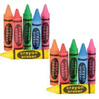Kicko Crayon Shaped Erasers - 12 Pack – Great for Party Bags, Fillers and Stuffers – Great for Teachers to Give as a Prize