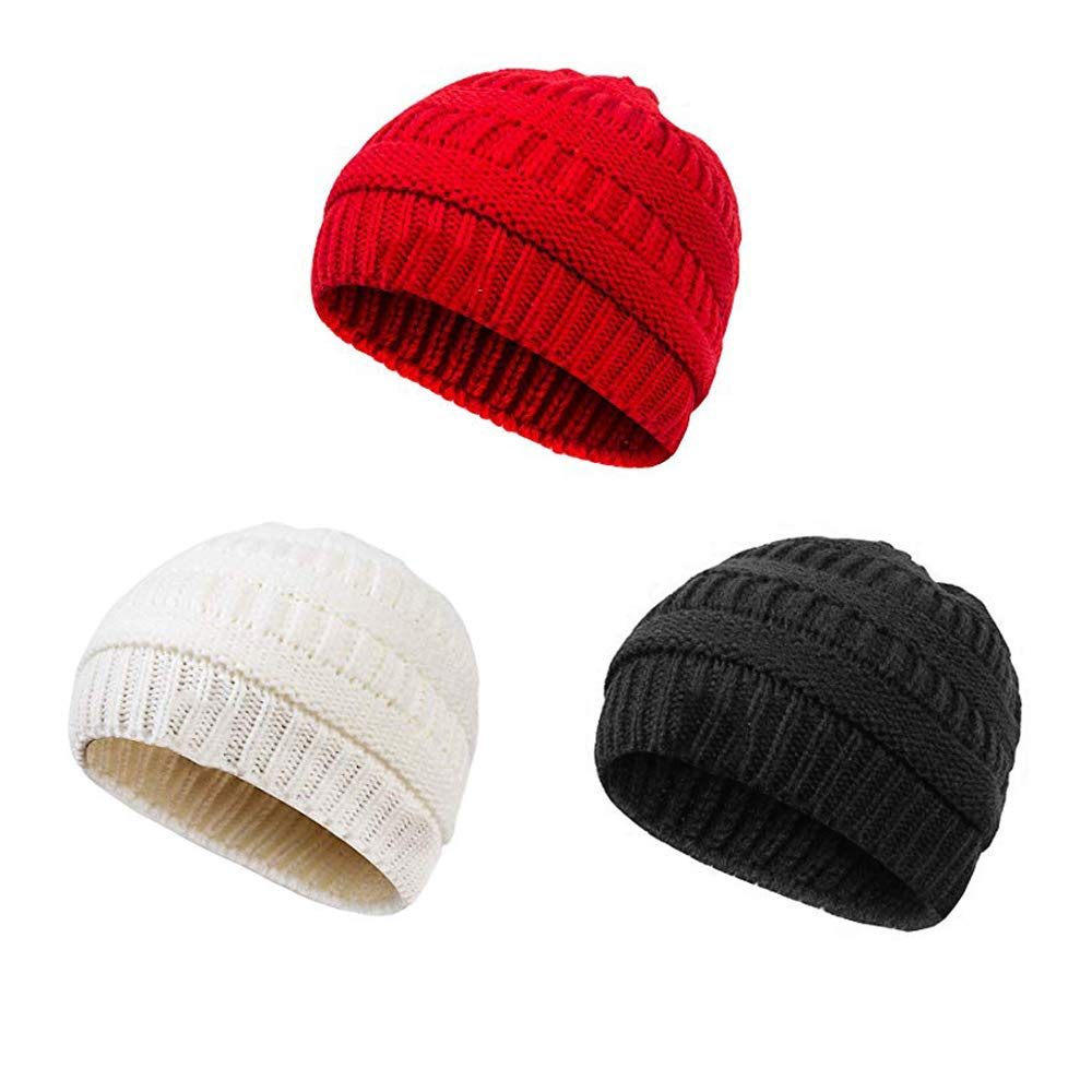 Fibevon Soft Warm Knitted Boys Girls Hats, Cute Cozy Chunky Winter Infant Toddler Baby Beanies -3PCS (Black,Red,White)