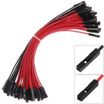 Premium Breadboard Female to Female Jumper Wires Black Red Color for Power Lines 0.1'' Square Head 60-Pack 24AWG by Hellotronics (F/F, 15CM, Pack of 60)