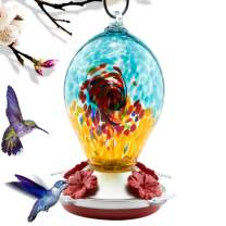 REZIPO Hummingbird Feeder with Perch - Hand Blown Glass - Orange - 21 Fluid Ounces Hummingbird Nectar Capacity Include Hanging Wires and Moat Hook (Blue)