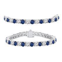 Dazzlingrock Collection 18K Round Real Blue Sapphire & White Diamond Ladies Tennis Bracelet, White Gold