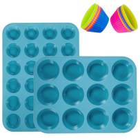 WARMWIND Silicone Muffin Pans, Non-Stick Cupcake Mold Included Mini 24 Cups, 12 Regular Cups, 12 Circle Cups, Silicone Bakeware Tray, Dishwasher Safe (Teal Blue)