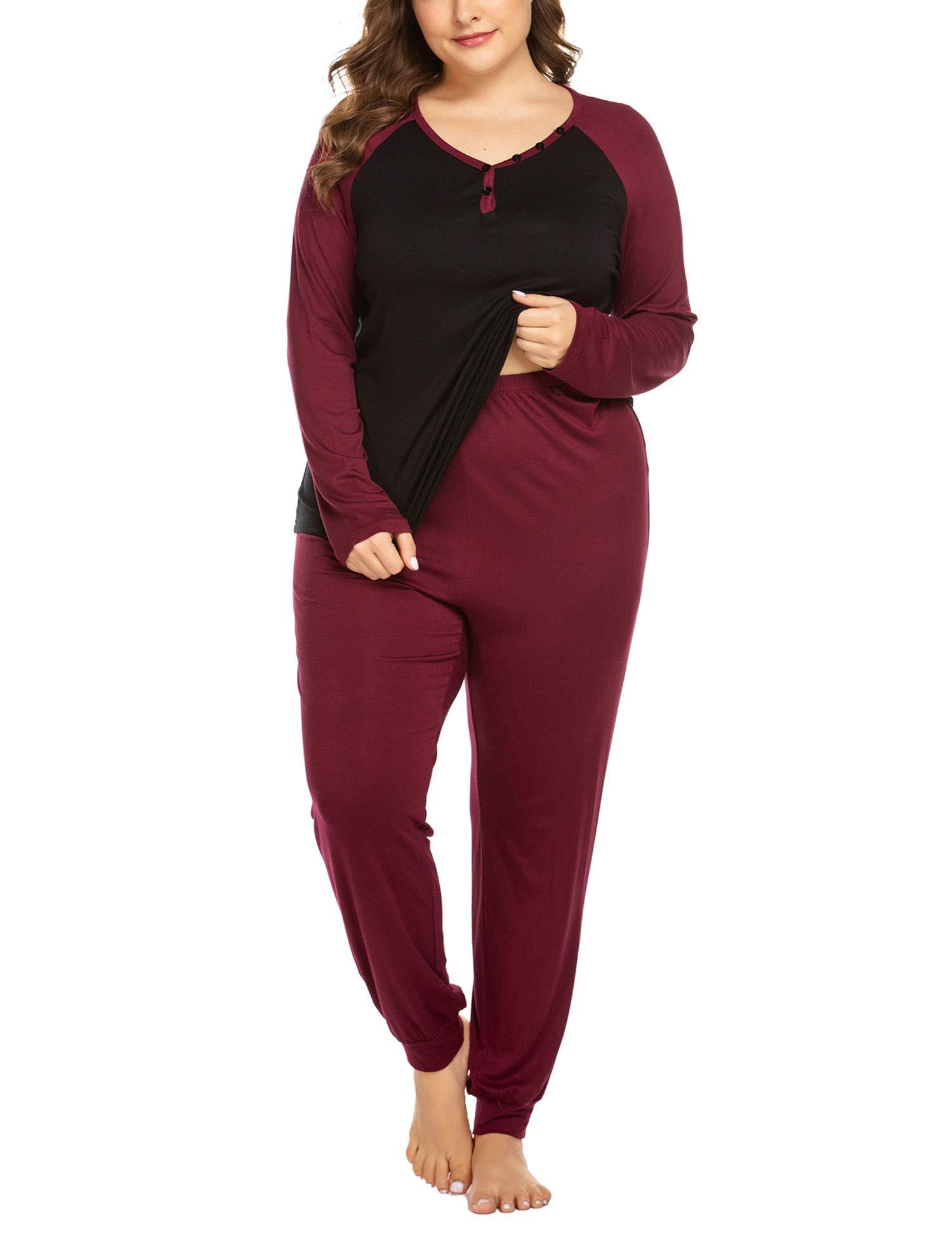 IN'VOLAND Womens Pajama Sets Plus Size Long Sleeve Sleepwear V Neck Button Pjs Soft Loungewear Set