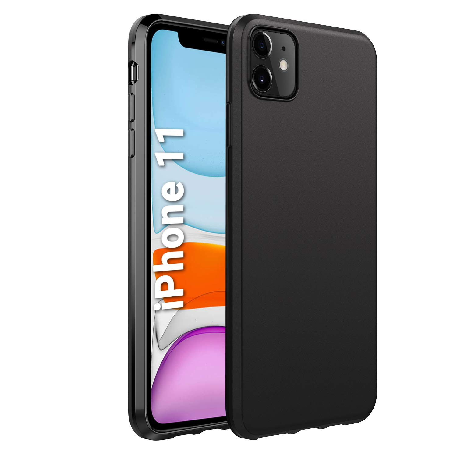 EasyAcc Slim Case for iPhone 11, Matte Black Ultra Thin Fit TPU Phone Cases Finish Profile Soft Back Protective Cover Compatible with iPhone 11 6.1 2019