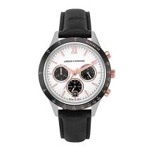 Larsson & Jennings Rally Unisex Mens & Womens Watch with 39mm Silver/Black/Satin White/Rose Gold Dial and Black Leather Strap CHR39-LBK-SBWR.