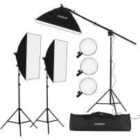 Andoer Photography Studio Lights, Studio Softbox Lighting Kit, Including 3pcs 45W Bi-Color 5500K Dimmable LED Lights 20 28inch Softbox 2m Light Stands Carry Bag