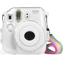Fintie Protective Clear Case for Fujifilm Instax Mini 8 Mini 8+ Mini 9 Instant Camera - Crystal Hard PVC Cover with Removable Rainbow Shoulder Strap, Clear