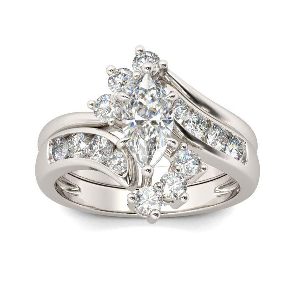Jeulia Marquise Cut Wedding Set Sterling Silver Bypass Rings with Cubic Zirconia White Diamond Solitaire Engagement Rings Promise Anniversary with Gift Box