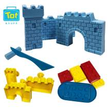 Tot Stuff Magic Shapable Sand - Castle and Block Set, Color Mixing Sand, Play Kit with Castle Model and Block Builders, Available in Assorted Colors(Blue
