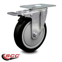 """Service Caster - 5"""" x 1.25"""" Black Polyurethane Wheel Swivel Caster with Total Lock Brake - Non-Marking - 300 lbs/Caster"""
