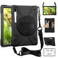 ZenRich Galaxy Tab S6 10.5 Case 2019, Tab S6 Shockproof Case with Pen Holder 360 Rotating Kickstand Hand Strap & Shoulder Belt for Galaxy Tab S6 10.5 inch Tablet 2019 Release SM-T860/T865/T867 (BLACK)