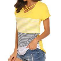 Keepfit Striped Splice T-Shirt, Criss Cross Front Tops Short Sleeve Casual Tops for Women Girls Juniors