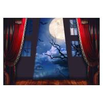 Funnytree 7x5FT Halloween Gothic Medieval Night Photography Backdrop for Family Dress Up Party Decoration Vampire Bat Background Photo Booth