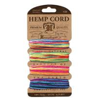 Hemptique Hemp Cord 4 Color Cards - Made with Love - Crafter's No. 1 Choice – Eco Friendly – Plant Hanger - Scrapbooking – Gardening – Macramé – Home Décor (Variegated2)