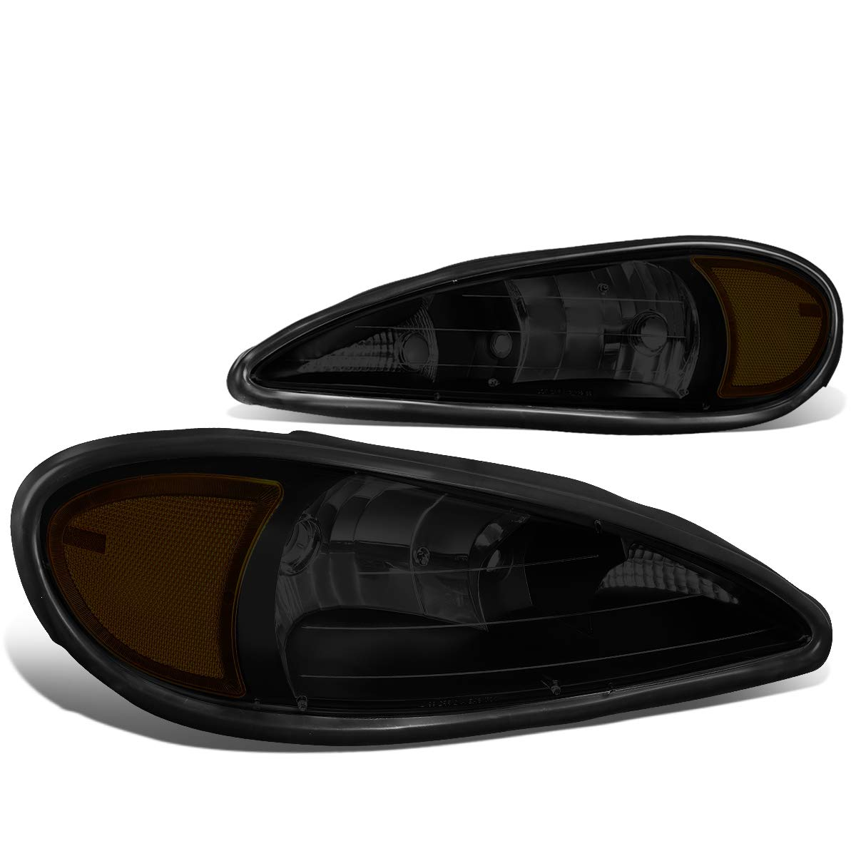 Pair Smoked Housing Amber Corner Headlight/Lamps Replacement for 99-05 Pontiac Grand Am
