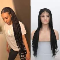 RDY 180% Density Black Micro Braids Synthetic Lace Front Wig 13×6 Braiding Styles Cornrows Half Box Braided Wigs Synthetic African Hair for Women with Baby Hair 18 Inch
