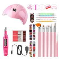 Barabum Nail UV LED Lamp Brush Kit, Nail Art Equipment Set for Salon (Pink)