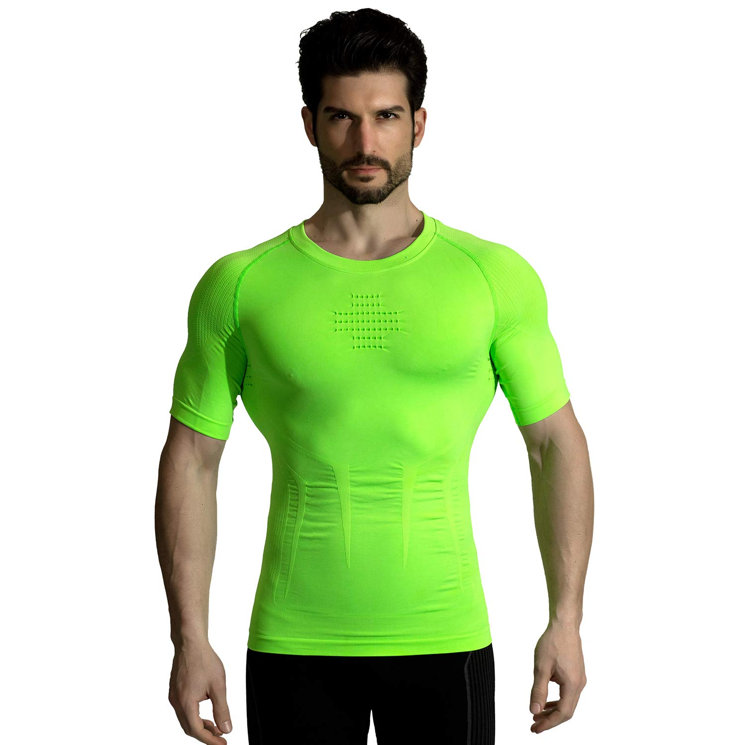 +MD Mens Cool Dry Compression Shirt Base Layer Top Short Sleeve T-Shirt Workout Athletic Slimming Shirt