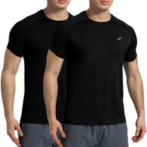 VAYAGER Mens Quick Dry Running Shirts Loose Fit Performance Short Sleeve Lightweight Athletic Workout Shirts for Men