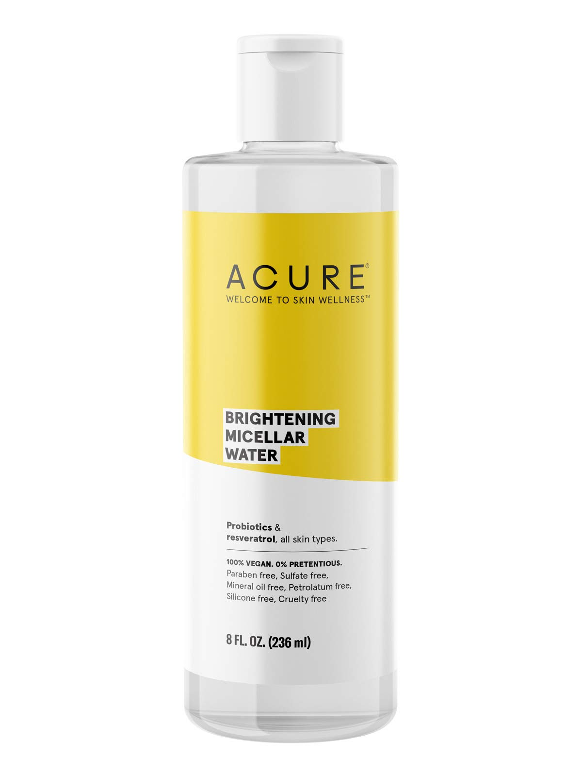 Acure Brightening Micellar Water | 100% Vegan | For A Brighter Appearance | Probiotics & Resveratrol - Draws Out Impurities, Moisturizes & Tones | All Skin Types | 8 Fl Oz, Multi Color