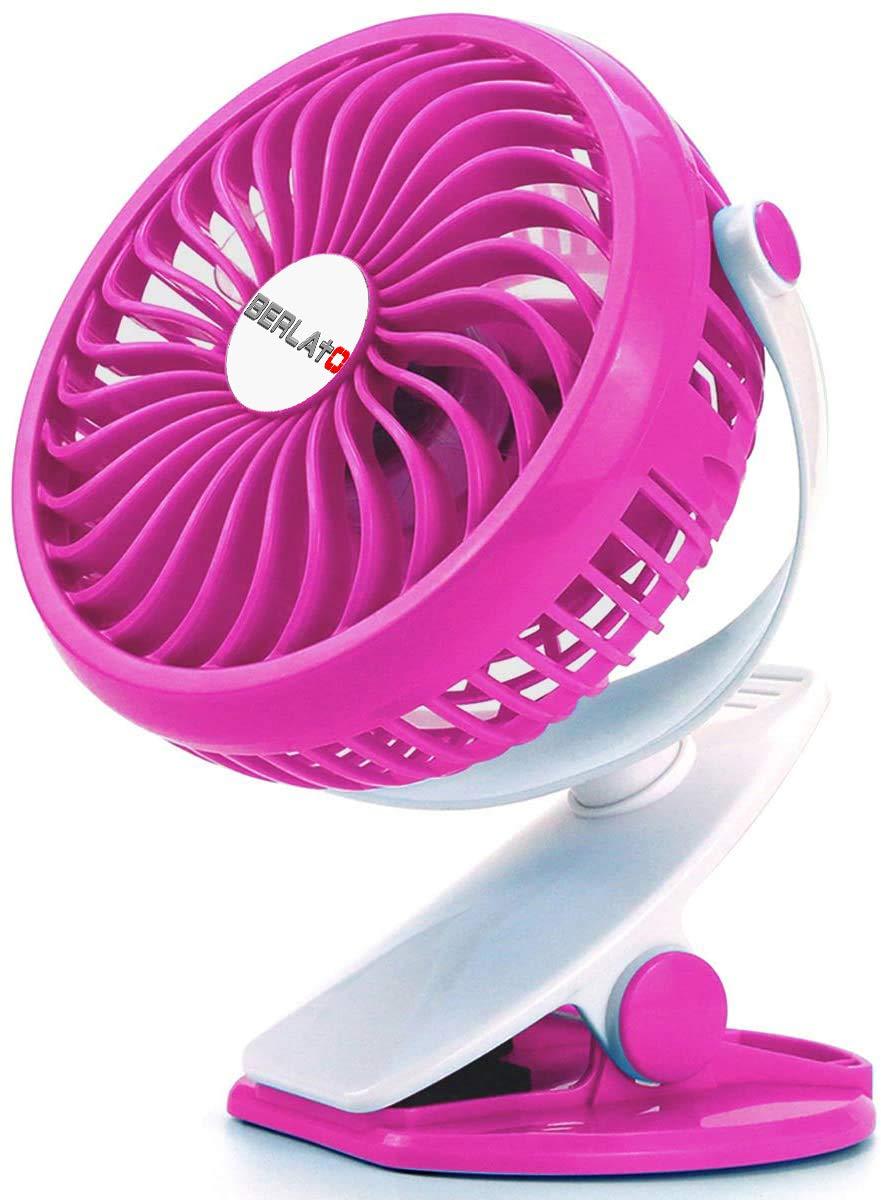 Berlato battery-powered USB rechargeable clip fan with 2600mAh battery, small trolley car seat fan (Rose Red)