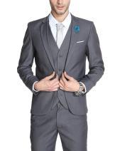 MOGU Mens Slim Fit 3 Piece Suit Blazer Jacket Pants and Vest Set