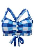FUTURINO Women's Retro Plaid Pattern Halter Bikini Set Swimsuits Beach Swimwear