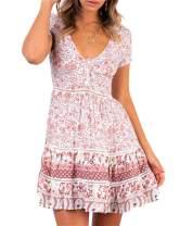 Women's Summer Boho Sun Dresses - Wrap V Neck Bohemian Floral Print Swing A Line Beach Mini Dress