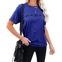 Fisoew Women's Mama Graphic T-Shirt Torn Short Sleeve Round Neck Casual Tops Blouse