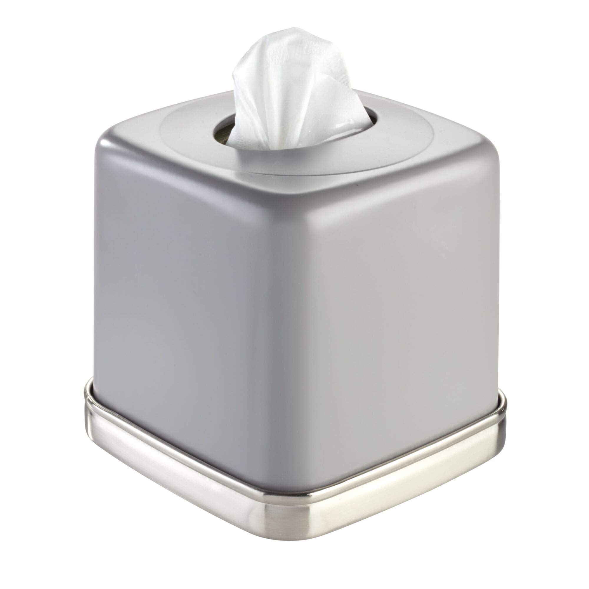 iDesign York Boutique Facial Tissue Box Cover Holder for Bathroom Vanity Countertops, Matte Gray and Brushed Nickel