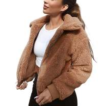 Uni Clau Fuzzy Jackets for Women - Long Sleeve Lapel Zipper Faux Shearing Shaggy Oversized Coat Jacket with Pocket