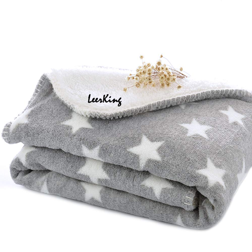LeerKing Dog Puppy Blanket Double Layer Micro Fleece Plush Pet Cat Warm Bed Cover Cushion Mat 30 x 40 Inches/ 40 x 60 Inches,Two Sizes