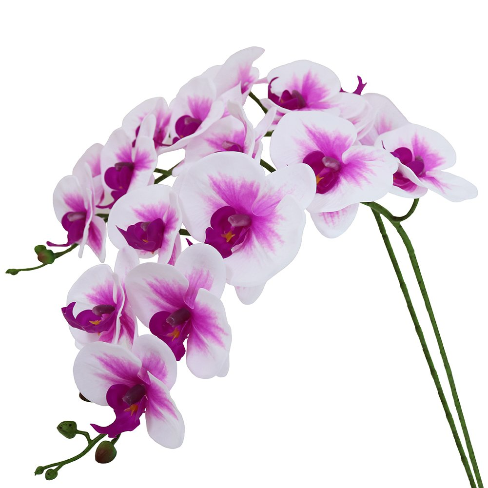 Htmeing 38 Inch Artificial Phalaenopsis Flowers Branches Real Touch (Not Silk) Orchids Flowers for Home Office Wedding Decoration,Pack of 2 (White Pink)