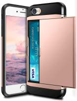 SAMONPOW Case for iPhone 5s Dual Layer Protective Shell iPhone SE Wallet Case Hard PC Soft TPU Inner Rubber Bumper Credit Card Slot Back Shock Absorption Cover for iPhone 5 5s iPhone SE Rose Gold