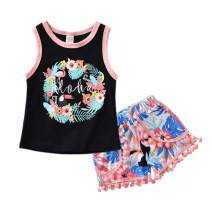 Toddler Baby Girl Summer Clothes - Black Floral Vest and Tassels Shorts, 2 Piece Baby Girl Hawaii Style Outfit
