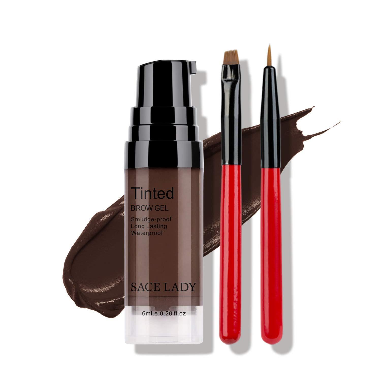 Long Lasting Eyebrow Gel with Eyebrow Brushes for Waterproof Eyebrow Makeup, Eyebrow Tint Corrector Kit, Intense Brow Color Pomade Cream, 6ml/0.20Fl Oz, Dark Brown